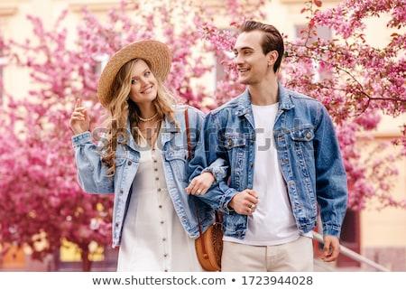 пару · человека · женщину · джинсов · белый - Сток-фото © chesterf