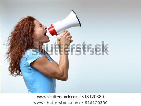 女性 メガホン 魅力的な ストックフォト © elvinstar