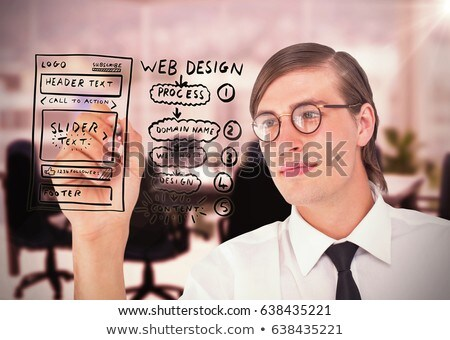 Geeky businessman writing with pen  Stock photo © wavebreak_media