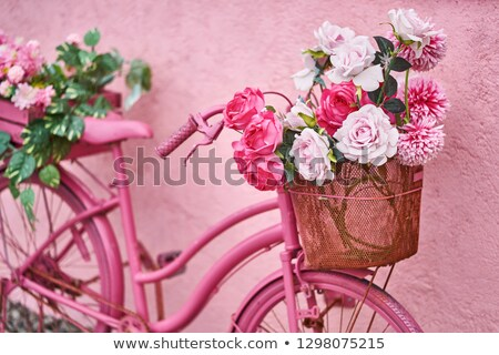 Rosa pintado bicicletas velho parede três Foto stock © compuinfoto