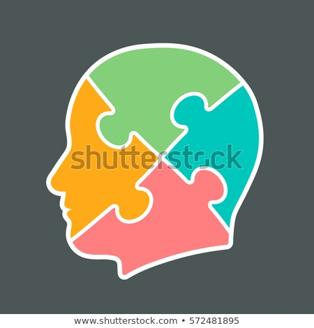 head icon cut into four jigsaw puzzle pieces stock photo © adrian_n