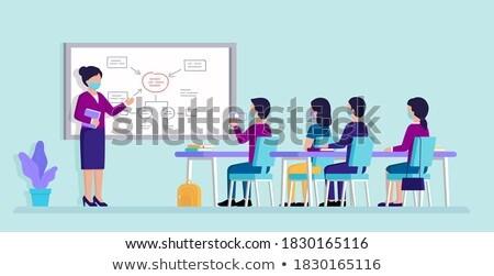 Answers - Cartoon Illustration on Blue Chalkboard. Stock photo © tashatuvango