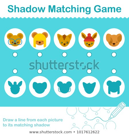 Shadow Matching Game with cute little animal heads Stock photo © adrian_n