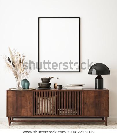 felfelé · fehér · tiszta · poszter · szoba · fapadló - stock fotó © user_11870380