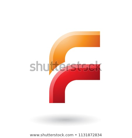 Orange and Red Letter F with Round Corners Vector Illustration Stock photo © cidepix