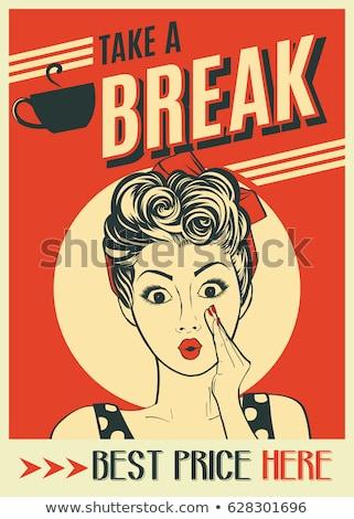 Hirdetés kávé retro poszter pop art nő Stock fotó © balasoiu