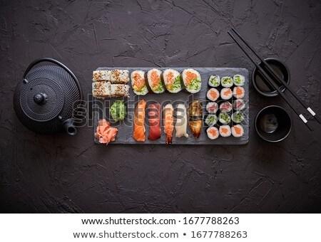válogatás · különböző · szusi · tekercsek · fekete · kő - stock fotó © dash