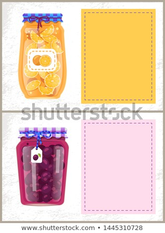 Canned Plums and Oranges in Glass Jar Scrap Labels Stock photo © robuart