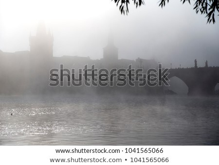 Charles Bridge and fog Stock photo © Givaga