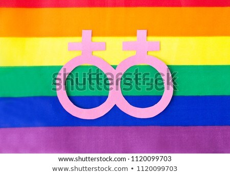 Feminino símbolo arco-íris bandeira homossexual orgulho Foto stock © dolgachov