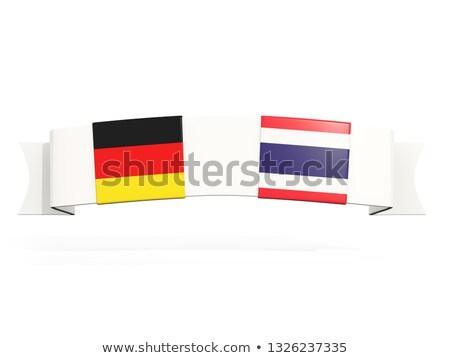 Banner twee vierkante vlaggen Duitsland Thailand Stockfoto © MikhailMishchenko