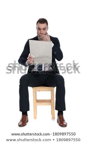 Foto stock: Elegante · homem · sessão · leitura · jornal