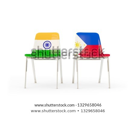 Dois cadeiras bandeiras Índia Filipinas isolado Foto stock © MikhailMishchenko