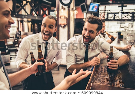 Man In Business Suits Relaxing At The Bar With Beer And Laughing Vector Flat Cartoon Illustration Stock photo © pikepicture