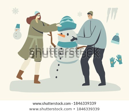 Young Person Making Snowman in Warm Clothes Vector Сток-фото © robuart