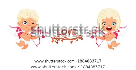 valentine jumping and smiling girl with boy vector stock photo © robuart