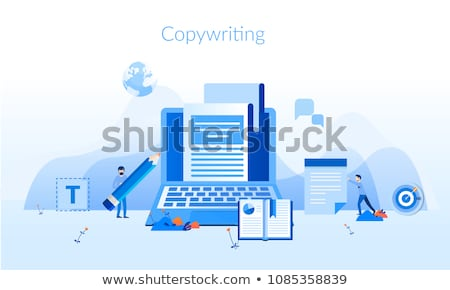 Poster illustrating the workplace of a writer or copywriter. Stock photo © ConceptCafe