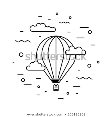 Retro air dirigible journey flat vector illustration isolated on white background. Stock photo © Zhukow