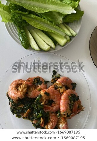 Pacific fried shrimp and green vegetables for starter Stock photo © ElenaBatkova