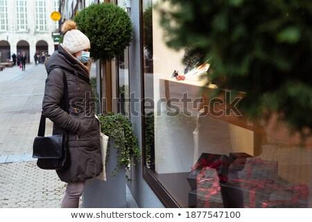 Vásárlás központ díszített karácsony dobozok ajándékok Stock fotó © galitskaya