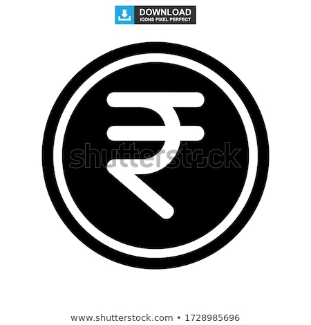 Abstract money banknote with indian rupee sign, simple black icon with shadow on gray Stock photo © evgeny89