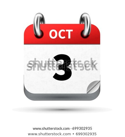 Bright realistic icon of calendar with 3 october date isolated on white Stock photo © evgeny89