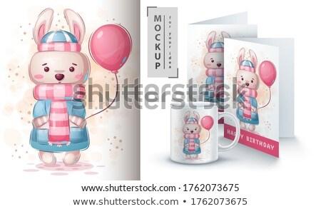 Tavşan poster vektör eps 10 Stok fotoğraf © rwgusev