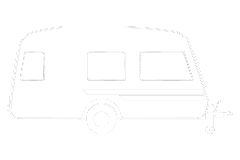 Campervan Motorhome Caravan Car Viewed from Side Retro Black and White Stock photo © patrimonio