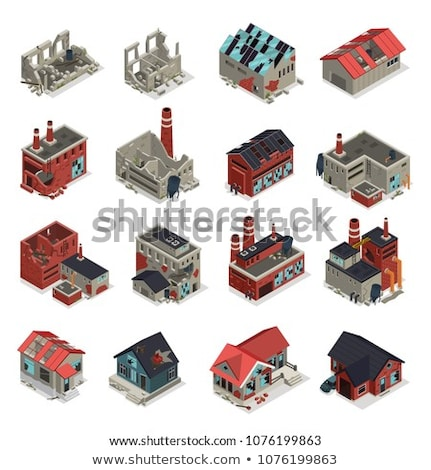 Broken House Building Isometric Icons Set Vector Stock photo © pikepicture