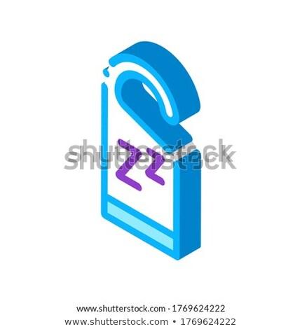 Hotel uchwyt etykiety izometryczny ikona wektora Zdjęcia stock © pikepicture