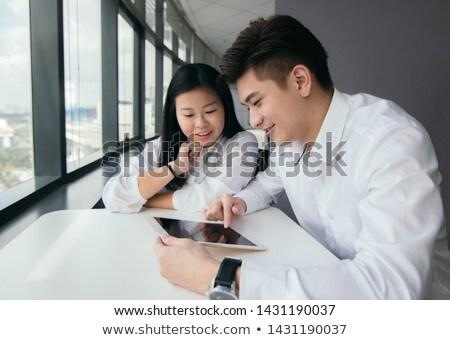 Foto stock: Casal · empresário · discutir · laptop · escritório · trabalhar