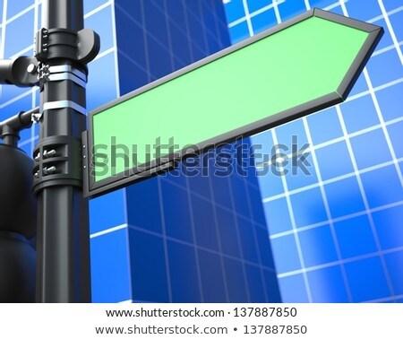 blank arrow raodsign on blue background stock photo © tashatuvango