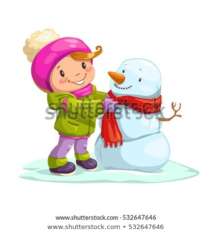 cute little girl with snowman stock photo © balasoiu