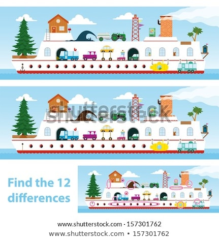 Stock photo: Kids puzzle ship to spot the 12 differences