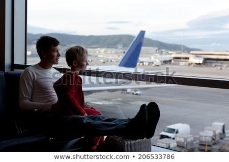 Fiú vár indulás repülőtér játszik idő Stock fotó © meinzahn