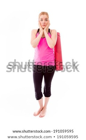 Young woman carrying exercising mat looking scared Stock photo © bmonteny