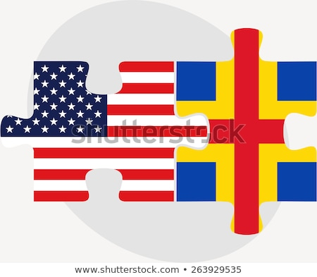Stock photo: USA and Aaland Islands Flags in puzzle