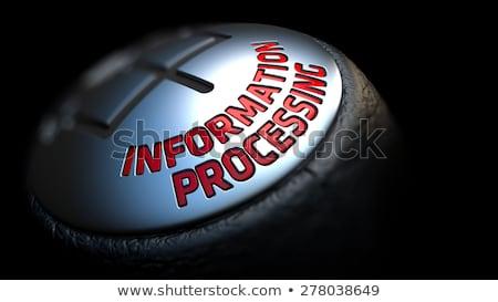 Informatie zwarte versnelling Rood tekst leder Stockfoto © tashatuvango
