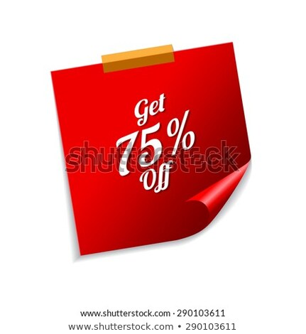 Procent Rood sticky notes vector icon ontwerp Stockfoto © rizwanali3d