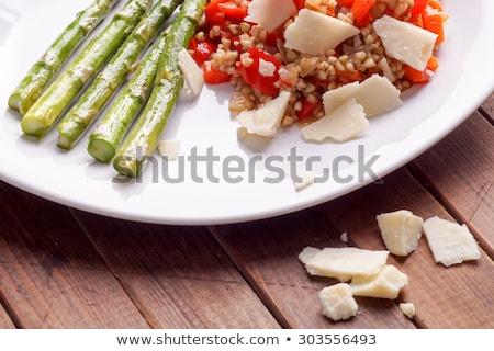 Vegetarisch risotto Rood bel paprika geserveerd Stockfoto © Klinker