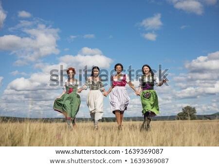 rir · feliz · oktoberfest · mulher · tradicional - foto stock © fisher