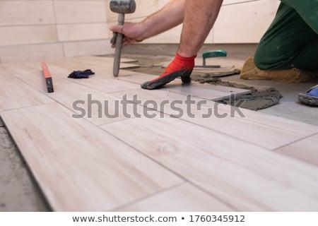 керамической · плитки · человека · ванную · домой · рабочих - Сток-фото © oleksandro