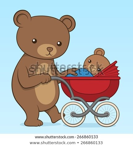 mother bear pushing her cub in a buggy stock photo © adrian_n