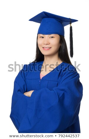 Woman in blue graduation gown Stock photo © bluering
