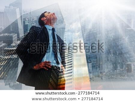 Foto stock: Composição · digital · imagem · empresário · olhando · negócio · ícones