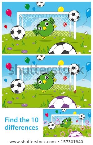 Crianças quebra-cabeça bonitinho pássaro futebol goleiro Foto stock © adrian_n