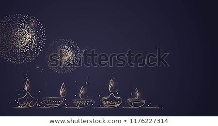 Stock photo: beautiful illustration of burning diwali diya