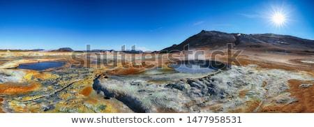 Stoom IJsland Europa landschap uitbarsting wolken Stockfoto © Kotenko