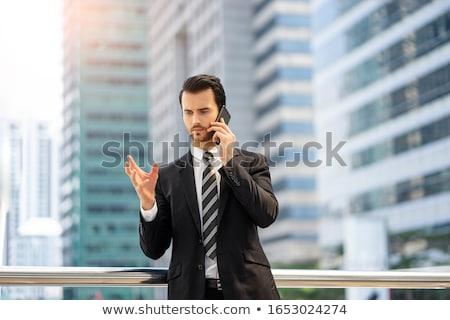 Foto stock: Retrato · empresário · falante · telefone · negócio · escritório