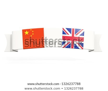 Banner with two square flags of United Kingdom and china Stock photo © MikhailMishchenko